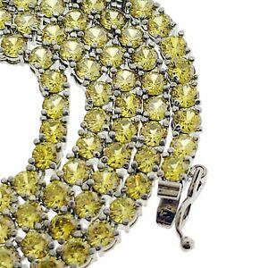 14K Gold Plated Yellow Iced Lab Stimulated Diamond Tennis Hip Hop Pharaoh Chain