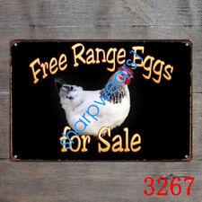 Personnalisé Free Range oeufs en métal aluminium Plaque Cottage Vintage signe 23x15cm