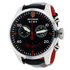 DETOMASO ROMA Mens Wrist Watch Chronograph Stainless Steel Black Leather New