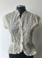 Vintage 50's Jami Originals Sheer Ivory Blouse With Embellishment Size 32