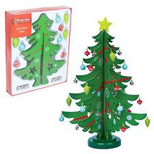 Premier 25cm Madera Navidad Árbol Con Adornos - Verde