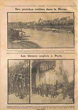 Péniches Bateaux Lavoirs Coulées la Marne/Hôtel Marriott Tommies Paris WWI 1914