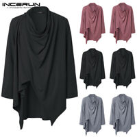 Men's Vintage Hooded Cape Poncho Long Sleeve Hipster Cloak Cape Coat Outwear Top