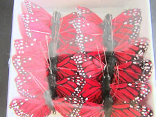 "12 Polyester 1.5"" Craft Monarch Butterfly Wire/Floral Decoration/Garden L68-Red"