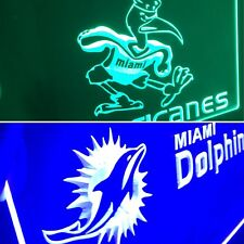 Miami Hurricanes, Miami Dolphins 2 Led Neon Light Signs for Game Room,Office.