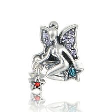 FAIRY w CRYSTAL WINGS & STARS  .925 Sterling Silver European Charm Bead