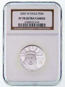 2005-W .9995 Platinum Statue of Liberty 1/2 Oz. Bullion Coin NGC PF70 UCam