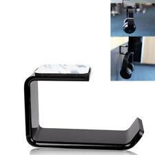 More details for acrylic headphone stand hanger hook tape under desk dual headset mount holder bw