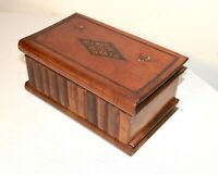 antique hand made carved wood book shaped style jewelry vanity box casket