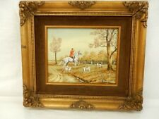 "Vintage C. Carson silk screen oil painting ""Hunting with dogs"" 16x14"