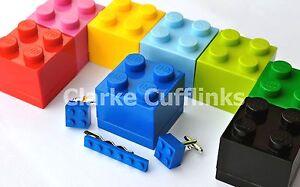 LEGO® BRICK CUFFLINKS & TIE SLIDE CLIP MENS WEDDING GIFT BOX BIRTHDAY PRESENT