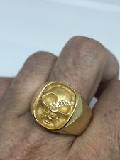 Golden Stainless Steel Size 11 Men's Skull Biker Ring Vintage