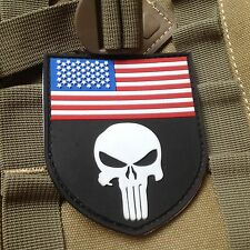 New listing Red Punisher Usa Flag Shield Morale Tactical Isaf Navy Us Seal Pvc Ptach