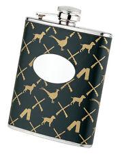 Green Leather Covered Hip Flask Shotgun Pheasant Gundog Pattern Engravable Gift