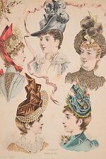 Cinq Chapeaux Modes de Paris Journal des Demoiselles 1° avril 1888 Deferneville