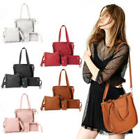 4pcs Women Ladies Leather Handbag Shoulder Tote Purses Satchel Messenger Bag Set