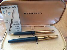 Waterman's Vintage 14 Kt Gold Nib C/F Blue Fountain Pen & Pencil Set In Box USA