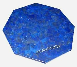 15 Inch Octagon Shape Side Table Top Marble Coffee Table with Lapis Lazuli Stone