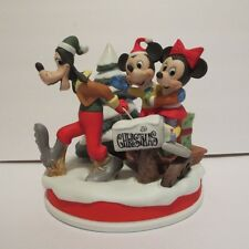 Disney LE Christmas Porcelain Bisque Figurine 1989 Mickey Minnie Goofy