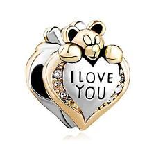 Pugster Silver 14K Gold Teddy Love Bear European Charm Bead Fit Bracelet NWT
