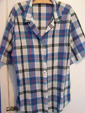 St Michael M&S CHECK SHORT SLEEVE BLOUSE / SHIRT Size 12 - VINTAGE