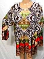 N Touch Women Plus Size 1x 2x Green Brown Tunic Top Blouse Shirt Elegant Sweater