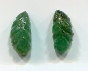 2 Matching Carved Leaf shaped Emeralds for Earrings 10x5 Emerald Gemstone A3