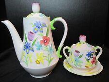 Schmid Coffee Pot Sugar Bowl Under Plate saucer Raised Flowers