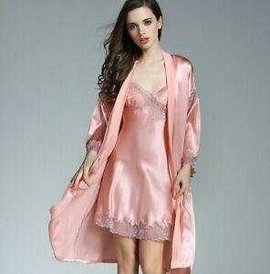 100% Pure Silk Women's chemise Robe Pajama Set Sleepwear Nightgown L-2XL XM002