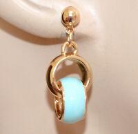 BOUCLES D'OREILLES OR Pendentifs bleu turquoise femme charm dorés émaillés N75
