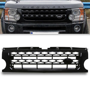 GLOSS BLACK DISCO 4 LOOK FRONT GRILL GRILLE FOR LAND ROVER DISCOVERY 3 04-09