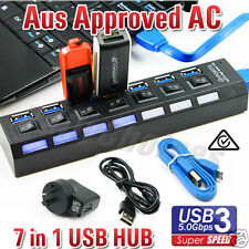 7 Port USB 3.0 Hub Powered AC Adapter Cable High Speed Splitter Extender PC AU