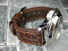 24mm BIG GATOR Leather Strap Brown Thick Watch Band Belt Brown Stitch PANERAI x1
