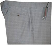 $375 NEW ZANELLA ITALY TODD LT HEATHER GRAY BLUE GRID SUPER 120'S WOOL PANTS 40