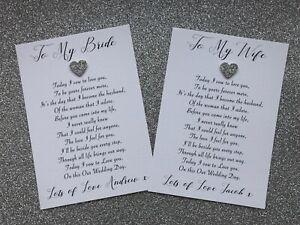 Personalised To My Bride / Wife Wedding Day Card Poem + Envelope