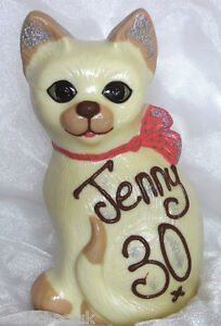 Hand-made Large Belgian White Chocolate Cat, may be personalised