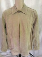 Chico's Womens Suede Leather Jacket Beige Large Size 2 Lined Zip Long Sleeve