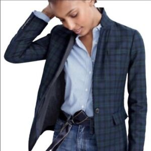 J. Crew Regent wool blazer in Blackwatch plaid, Size 4, Blue / Green