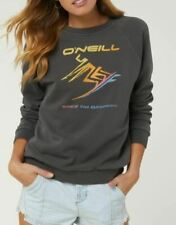 O'Neill THROWBACK Womens Crew Neck Pullover Sweatshirt Small Washed Black NEW