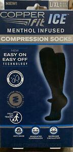 Copper Fit Ice Compression Socks Menthol Infused Black L/XL
