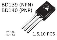 BD139 (NPN)  BD140 (PNP) Power Transistors TO-126 SOT-32 1/5/10 PCS
