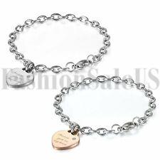 Women's Ladies Stainless Steel Love Heart Zirconia Dangle Chain Bangle Bracelet