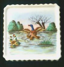 Antique Tea Trivet Duck ducklings Pond Lilies polychrome porcelain dish Dresden