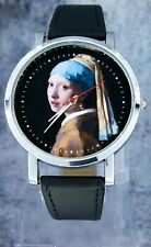 """""""Girl with a Pearl Earring"""" wristwatch design. Made to order. Black strap"""
