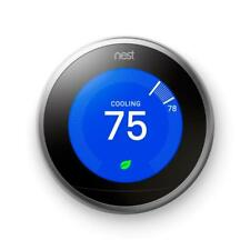 New Google Smart T3007ES Nest 3rd Gen Learning Thermostat - Stainless Steel