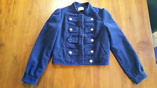 Review Navy Military style Jacket lined fault sz8 preowned free post D93