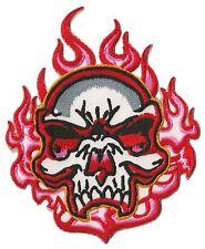Patch écusson brodé patche Skull on Fire thermocollant transfert