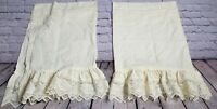Vintage Ivory Set Of Two Solid Flat Floral Pleated Overlay Lace Curtains