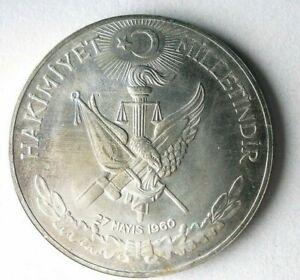 1960 TURKEY LIRA - AU/UNC - Great Silver Crown Coin - Lot #S22