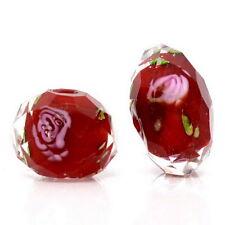 1 Perle Facettes Lampwork Verre Fleur fond rouge Bijoux Accessoire 13x8mm